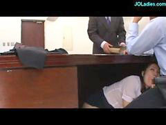 Office lady, Guy and guy, Couch, Under desk, In office, Suck on