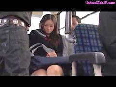 Bus, Schoolgirl bus, Tit rubbing, Tits rubbed, Tit rubbed, Tit on tit