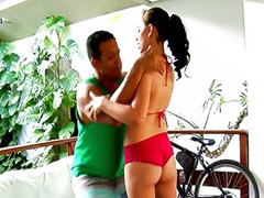 Latin, Sex cock, Bike, On air, Riding cock, Shaved cock cumming