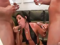 Big anal threesome, Monica b, Filled, Deepthroat anal, Double facial, Threesome latin