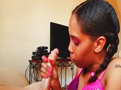 Ebony girls, Ebony black, Black girls, Purple hair, Jerking handjob, Handjob ebony