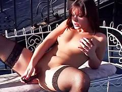 스타킹 자위, 섹스한 자위, 섹스스타킹, 야외 자위, 한 자위, 여자 아이 질액