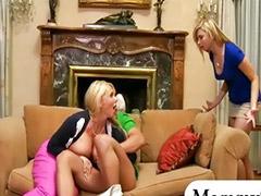 Threesome, Mature, Karen fisher, Big tits, Milf, Teen