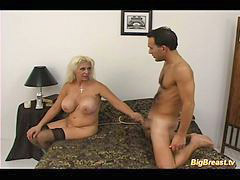 Old, Milf, Big tits, Pizza, Seduce, Boy