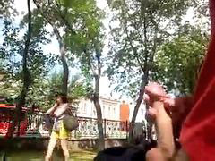 Bus, Public park, Rusıa, Rusės, Public-masturbation, Public girl