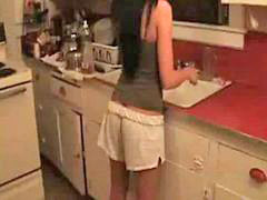 Kitchen, Teen brunette, Teen, In kitchen, Kit, Cute teen