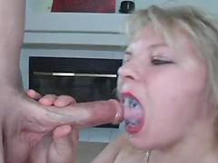Straight, Mouth cum, Blonde swallow, Cum into mouth, Cum into her, Swallow cums