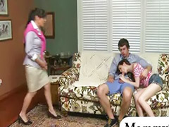 Teen threesome, Big tits, Stepmom, Milf, Teen