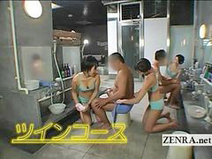Handjob, Japan, Handjobs, Sauna, Lady giving handjob, Lady b