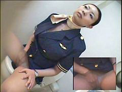 Toilet, Japanese hot, Japanese, Stewardess, Masturbation, Japan hot