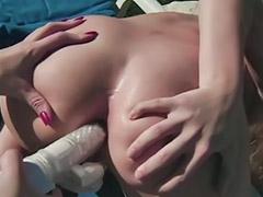 Munches, Shaved lesbian, Munching, Lesbian outdoor, Vagina toys, Vagina toy
