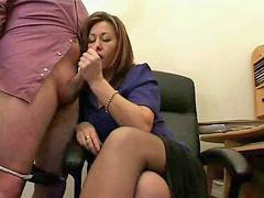 Secretary, Jerking, Boss, Mature, Jizz