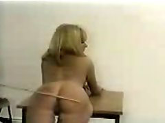 Caning, Caned, Gets bent, Blond caning, Bent over, A table