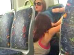 Bus, Public, Caught, Pussy on pussy, Pussy eat, Caught public