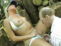 Grandpa, Outdoor, Grandpas, Seduces blonde, Outdoor blonde, Blond outdoor