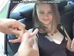 Teen, Car, Gangbang, Outdoor