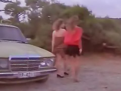Vintage, Retro, Public blowjob, Blond hairy, Threesome outdoor, Blonde hairy