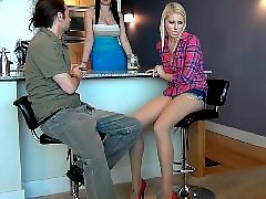 Under table, Pantyhose, Table, Stocking footjob