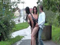 Public, Threesome, Pregnant, Girl