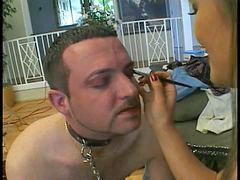 Femdom asian, Strapon man, Man slave, Sucking strapon, Slave man, Strapon femdom