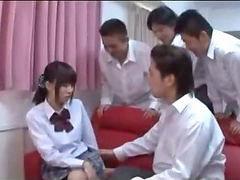 Schoolgirl gets fucked, Nipples sucked, Red couch, Raps, Rape, Pussy suck