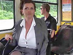 Bus, Mature, Big tits, Milking, Milk, Tits