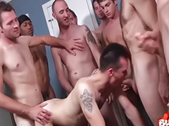 Bareback group, Anal group, Gay hunk, Bukkake anal, Anal tattoo, Tattooed brunette