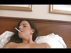 Smoking brunette, Horney, Dildo brunette, Smoking and