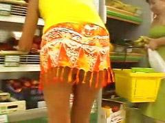 Sin bragas, En panty, Supermercados, En calzones, Supermecado, Supermercado