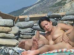Пляж возбуждает, На пляжи, Пара с парой, Пляж, На пляже, Семейная пара