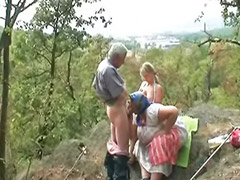 Granny, Threesome outdoor, Drink, Outdoors threesome, Outdoor granny, Outdoor threesomes