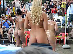 Wrestling, Oil, Outdoor, Hot girls, Oiled, Oil wrestling
