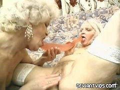 Granny, Dildo, Double, Double dildos, Sharing, Shared