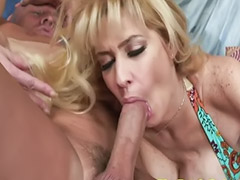 Shaving, Blond milf, Big tit milf, Rough blowjob, Big blonde, Oral