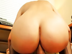 Naughty office, Blowjobs office, Hairy brunette, Danielle, Hairy vagina, Hairy masturbation
