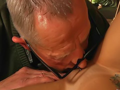 Old young, Young oral, Young blowjob, Licking cum, Old couple, Old asian