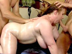 Two milfs, Two man, Redhead milf, Red head milf, Red milf, Man fat
