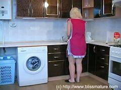 Porn, Russian mom, Mom, Kitchen, Russian, Mom son