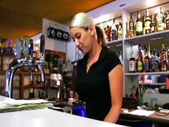 In bar, Big busty tits, Barmaid, Backroom, Arm bus, Pov tits